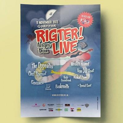 Het is november, en tot 2014 betekende dat #RigterLive! Een benefietconcert in @patronaathaerlem, waar we de laatste 2 jaar niet alleen de poster, maar ook het hele stage ontwerp en inhoudelijk concept hebben verzorgd. #posterspree