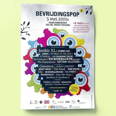 In 2010 vierde @bevrijdingspop haar 30e editie, en zorgden wij voor een feestelijke, kleurrijke huisstijl. We ontwierpen naast alle banners en signage, 3 feestelijke stagedesigns en deze festivalposter. #posterspree