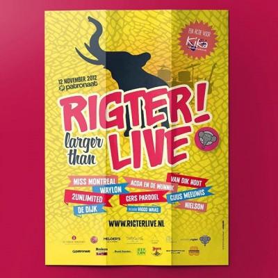 Voor benefietwedstrijd @rigter_live hebben we in 2012 hun visuele stijl een boost gegeven. Vanuit het concept 'larger than life' hebben we het leven gevierd! Compleet met stage design, en Het geheugen van Rigter. Want olifanten vergeten nooit iets. #posterspree